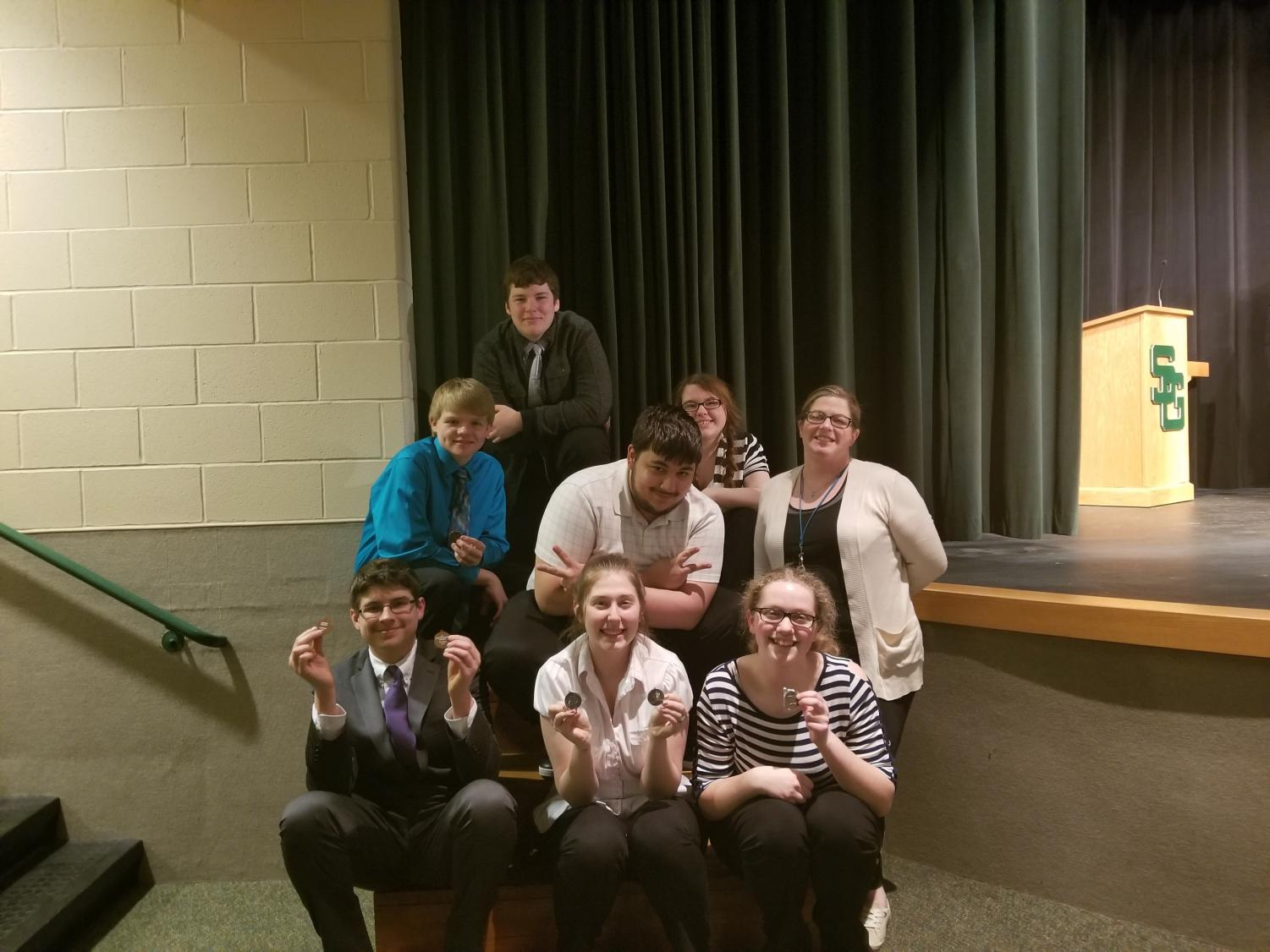 (From top left) Austin Williams, Mark Grogan, Sean Weinland, Alexis Russell, Whitney Crabtree (From bottom left) Matt Marlow, Terra Spradling, and Emily Livers are all on the speech team. Spradling qualified for the state meet that will take place this Saturday.
