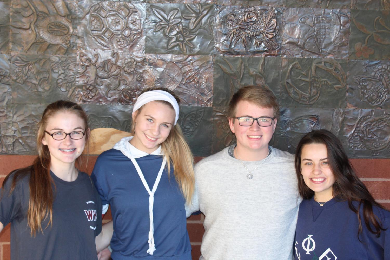 2018-2019 class officers from the left, Maggie Funston (freshmen), Sophie Dubis (sophomore), Adam Marler (junior), and Emily Shaul (senior)