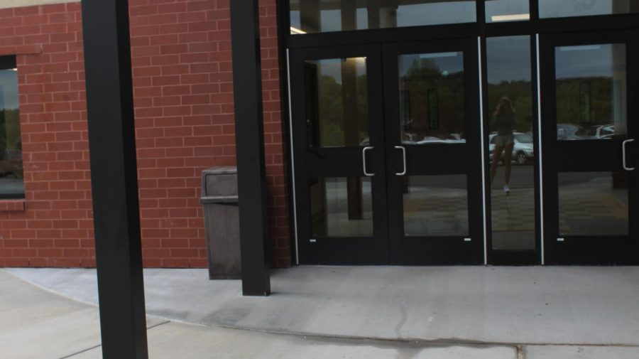 The doors to the new high school.