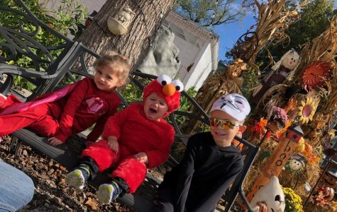 (From left to right) Hadley Schmidt, Lincoln Stoffey , and Cameron Schmidt recently went trick-or-treating in Kimmswick.
